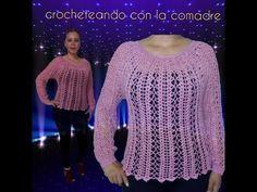 #crochet#facil#moderna tutorial blusa Beca parte 1 facil y rapido crocheteando con la comadre - YouTube Crochet Stitches, Crochet Patterns, Crochet Winter, Crochet Videos, Crochet Clothes, Free Crochet, Embroidery, Sweaters, Beautiful