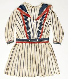 """omgthatdress: """"Dress 1910 The Metropolitan Museum of Art """" At first I thought this was the top part of a bathing costume, but then I saw how little the sleeves are. Cute girl's dress :)"""
