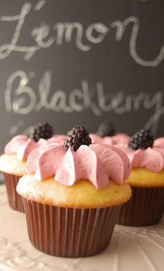 Lemon Cupcakes with Fresh Blackberry Buttercream