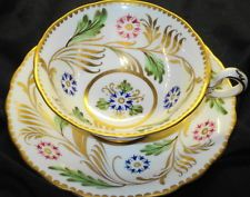 ROYAL CHELSEA ENGLAND PINK GREEN BLUE GOLD WIDE TEA CUP AND SAUCER