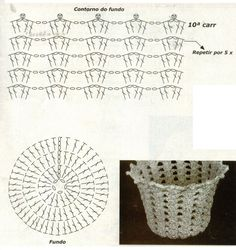 Discover thousands of images about WAZONY I INNE - Anetta Rosińska - Álbumes web de Picasa Crochet Vase, Crochet Leaves, Crochet Gifts, Crochet Motif, Crochet Doilies, Crochet Flowers, Crochet Stitches, Crochet Placemat Patterns, Crochet Basket Pattern