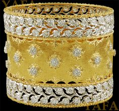 Buccellati diamond and 18k gold; 2 inches wide bangle; Italy.