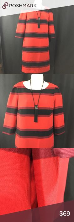 "Black/red pull over dress by Premise NWTs SZ 6 Fully lined, side zip, 3/4 inch sleeves, new with tags's, Slit side pockets. Size 6 Round neck  Bust 36"", Hips 38"", length 35"" Premis Dresses Dresses Midi"