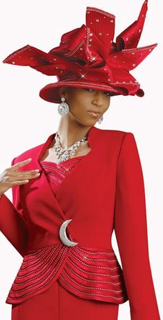 women's church suits and hats | ... image of Donna Vinci 11136 Womens Red Church Suit with Rhinestone Trim