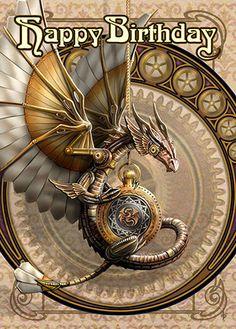 Steampunk Dragon Card | Anne Stokes Clockwork Dragon Happy Birthday Card