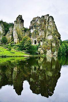Vintage Externsteine Germany us Sacred Stone Formation