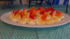 Deviled egg boats- Great for a summer, beach, under the sea, or nautical party theme.