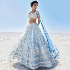 Anita Dongre is launching her Summer 2019 Collection and this one… Seen this yet? Anita Dongre is. Indian Lehenga, Blue Lehenga, Indian Gowns, Indian Fashion Dresses, Floral Lehenga, Bollywood Lehenga, Lehenga Choli Designs, Lehenga Designs Latest, Indian Fashion Designers