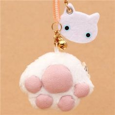 small Kutusita Nyanko plush charm white cat paw