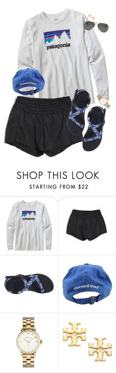 """{ summer days, please come soon }"" by callingmybluff ❤ liked on Polyvore featuring Patagonia, lululemon, Chaco, Vineyard Vines, Marc by Marc Jacobs, Tory Burch and Ray-Ban"