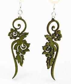 Long Flower Ornament Laser Cut Wood Earrings by GreenTreeJewelry