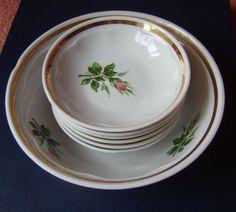 USSR Latvia Porcelain Set of 7 bowl f. jam handpaint RIGA Factory RPR w. gold