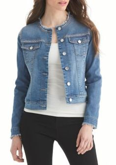 Nine West Jeans Sanford Arya Embellished Denim Jacket