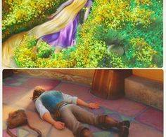 """Tangled Flynn: Conked out. Rapunzel: """"I am a despicable human being. Disney Pixar, Film Disney, Best Disney Movies, Disney Couples, Disney Tangled, Disney Memes, Disney Quotes, Disney And Dreamworks, Disney Animation"""