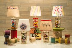 Buttons and marbles and spools, oh my! Those are just a few things you can use to fill a quirky mason jar lamp. Put anything (and everything) you love in this not-just-for-pickles-anymore glassware, and then light it up with a lamp kit.