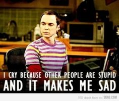 I cry because other people are stupid and it makes me sad. -Sheldon Cooper!