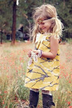 Spring Vintage Yellow Sparrow Dress