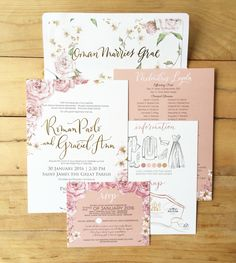 Roman Paolo and Graciel Ann Bespoke Suite -- Old Rose Wedding Invitation by Ink Scribbler