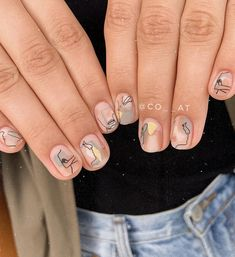 ✔ Cute Nails Neutral Manicures in 2020 Stylish Nails, Trendy Nails, Cute Nails, Minimalist Nails, Nail Swag, Hair And Nails, My Nails, Picasso Nails, Modern Nails