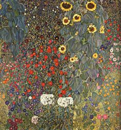 Klimt / Farm Garden with Sunflowers, 1905-06, oil on canvas, Österreichische Galerie, Vienna.