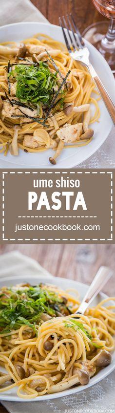 Ume Shiso Pasta (梅しそパスタ) | Easy Japanese Recipes at JustOneCookbook.com