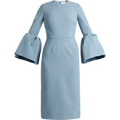 Roksanda Margot bell-sleeved crepe dress (€1.135) ❤ liked on Polyvore featuring dresses, light blue, blue midi dress, roksanda dress, mid calf dresses, slimming dresses and crepe fabric dress