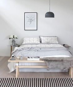 Cozy Bedroom  60 Favourite Scandinavian Bedroom Design Ideas  #bedroom #decor #design #ideas #Scandinavian #CozyBedroom #DreamBedroom #SmallBedroom White Bedroom Design, White Bedroom Decor, White Decor, Bedroom Ideas, Black Decor, Bedroom Designs, Modern Minimalist Bedroom, Modern Bedroom, Minimalist Scandinavian