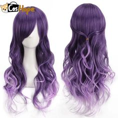 Buy Harajuku Women Gradient Purple Curly Wavy Long Wigs Cosplay Party Full Hair at Wish - Shopping Made Fun Curly Hair Care, Curly Wigs, Long Curly Hair, Human Hair Wigs, Curly Hair Styles, Purple Ombre, Purple Wig, Rides Front, Anime Wigs