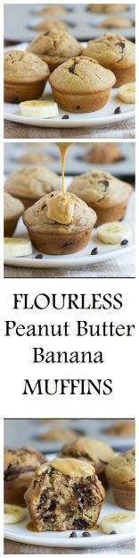 Flourless Peanut Butter Banana Muffins- made without dairy, gluten, oil OR refined sugar. One muffin has as much protein as an egg! They're so moist and delicious, you would never guess that they're h(Flourless Muffin Paleo) Healthy Muffins, Healthy Sweets, Healthy Baking, Protein Muffins, Healthy Foods, Weight Watcher Desserts, Gluten Free Baking, Gluten Free Desserts, Muffins Blueberry