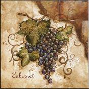 Tuscan Grapes I - Accent - Tile Mural backsplash - kitchen @ Tile Mural Store