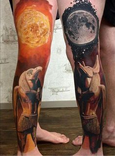 The Egyptian Gods Tattoo is a composition of two leg tattoos with drawings of two anti-gods: Ra - the God of Sun and Anubis - the God of the Underworld. Bild Tattoos, Top Tattoos, Great Tattoos, Beautiful Tattoos, Body Art Tattoos, Sleeve Tattoos, Awesome Tattoos, Tattoos For Guys Leg, Mens Leg Tattoo