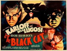 Poster for Edgar Ulmer's THE BLACK CAT which, the Director admitted, had essentially no Edgar Allan Poe influence.