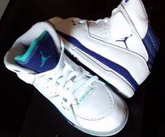 JORDAN SC-1 PS Boys Youth Size 1.5 White Blue Green basketball shoes sneakers #JORDAN #BasketballShoes