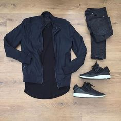 All black everything.   Zara man bomber  Submission essential tee  Represent destroyed bikers  Adidas Y-3 retro boost