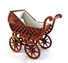 Dolls House Fine Miniature Nursery Furniture Walnut Wood Pram Baby Carriage