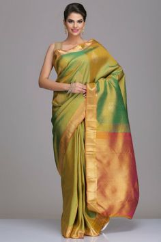 Lime Green Kanjivaram Pure Silk Saree With Floral Motifs And Gold Zari Pallu And Border With Real Zari