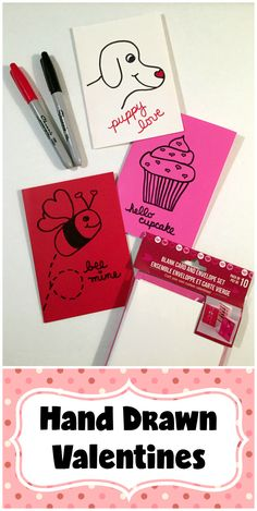 Video tutorial: How to make these easy hand-drawn Valentine card designs, made with blank cards from Dollar Tree!