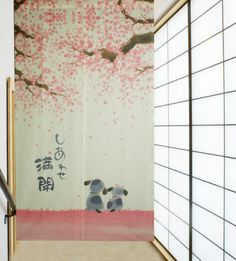 2013 Full Happiness Cherry Blossom Dogs Japanese Noren Door Curtains Joy 3057 | eBay