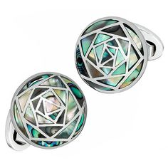 Abalone Inlay Art Deco Rose Cufflinks