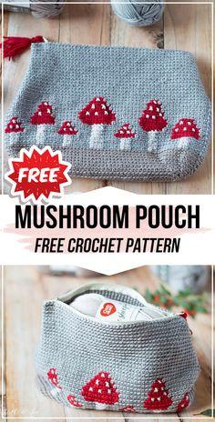 crochet Mushroom Pouch free pattern - easy crochet pouch pattern for beginners Crochet Pouch, Crochet Geek, Crochet Purses, Crochet Patterns Amigurumi, Crochet Gifts, Crochet Blanket Patterns, Cute Crochet, Easy Crochet, Crochet Stitches