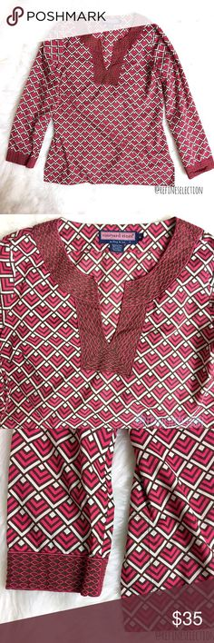 Vineyard Vines Geometric Pink And White Tunic Top Pre-loved in excellent condition, no rips or stains. Women's size Medium. This Vineyard Vines Geometric Pink And White Long Sleeve Tunic Top is gorgeous! Love the pink, white and brown geometric pattern with the embroidery detail at the neckline and cuffs! This top is so lightweight and comfortable, and makes you look so put together at the same time. Slits at the bottom sides. Made of 100% Cotton. Vineyard Vines Tops Tunics