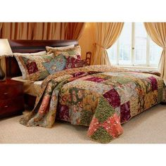 Greenland Home Fashions Antique Chic - Quilt Set Includes Bonus 16 in. Pillow - GL-0801AQ
