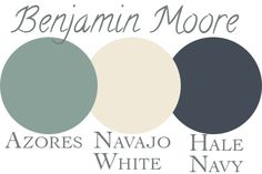 our exterior paint palette: Benjamin Moore Azores, Navajo White, Hale Navy