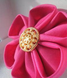 Hot Pink Royalty Tsumami Kanzashi with Hair Clip by ZuzuandLeelu, $12.00