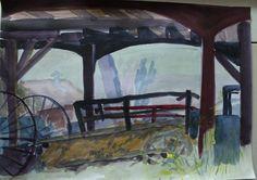 Tuomarilan ratsastustilalla  akvarelli harjoitelma 2013