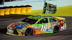 This NASCAR driver was sponsored by M n M's and as a result his car is wrapped in the company's imagery. This is the perfect example of he IMC element sponsorhip. M&m Nascar, Nascar Autos, Nascar Shop, Nascar Sprint Cup, Nascar Racing, Auto Racing, Kyle Busch Car, Kyle Bush, Kyle Busch Motorsports