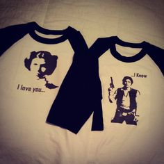 Star wars Han and Leia Couple Shirts, Perfect for the Nerd Couple you are!!