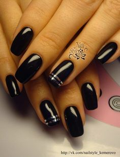 Accurate nails, Beautiful nails 2016, Black and silver nails, Black dress nails…