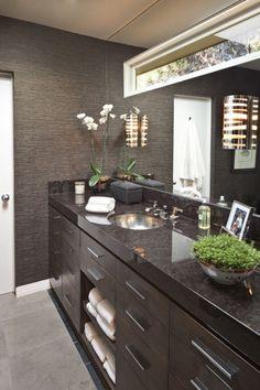 bathroom counters. stone walls.