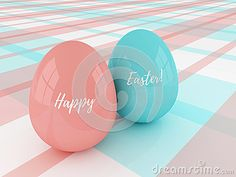 Pastel Easter eggs lying on plaid tablecloth with greetings